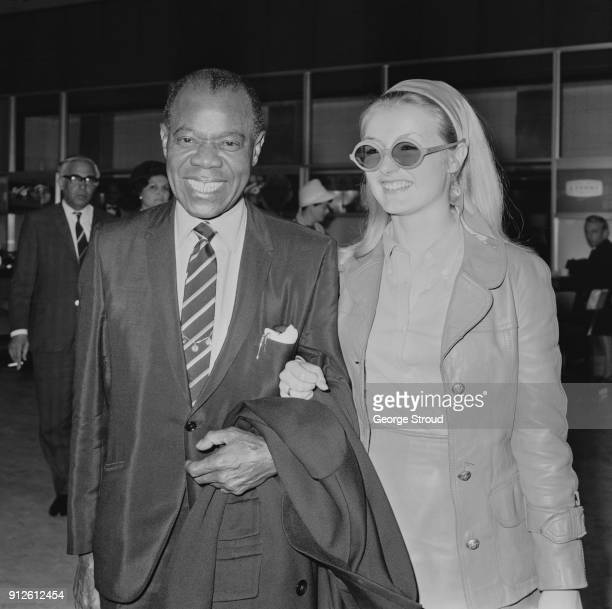 American trumpeter Louis Armstrong at Heathrow Airport, London, UK, 6th July 1968.