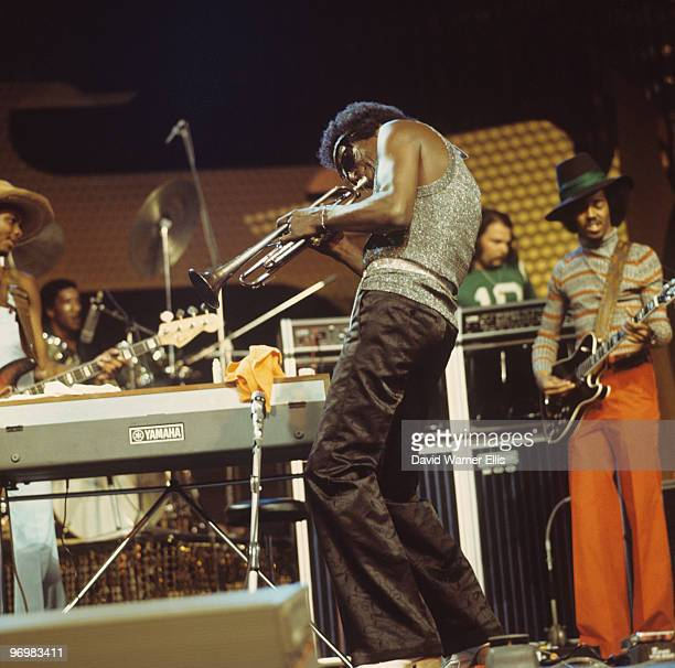 American trumpeter Miles Davis performs on stage with guitarist Reggie Lucas at the Montreux Jazz Festival held in Montreux Switzerland on July 08...