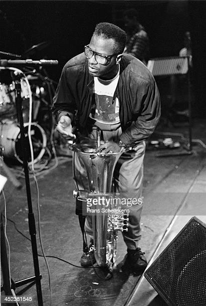 American tuba player Bob Stewart performs at the NOS Jazz festival at de Meervaart in Amsterdam, Netherlands on 11th August 1989.
