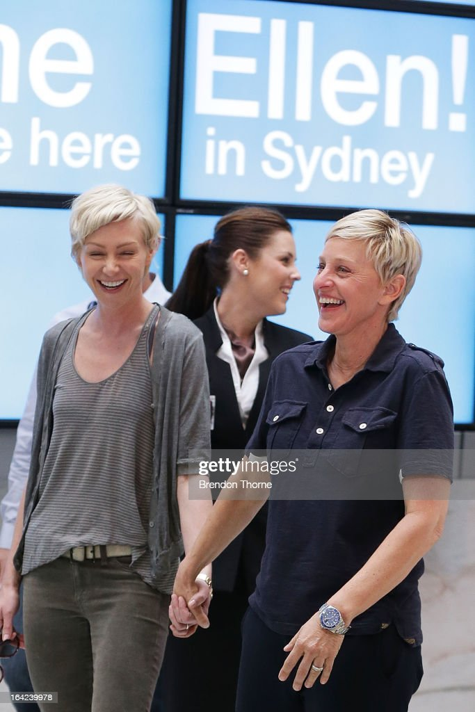 American TV personality Ellen DeGeneres and Australian actress Portia de Rossi arrive at Sydney Airport on March 22, 2013 in Sydney, Australia. DeGeneres is in Australia to film segments for her TV show, 'Ellen'.