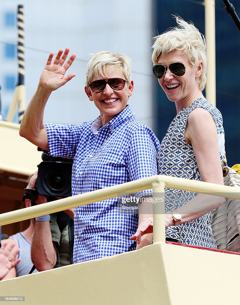 American TV personality Ellen DeGeneres and her wife, Australian actress Portia de Rossi on board a ferry leaving Circular Quay on the way to Mosman to visit Taronga Zoo on March 22, 2013 in Sydney, Australia.