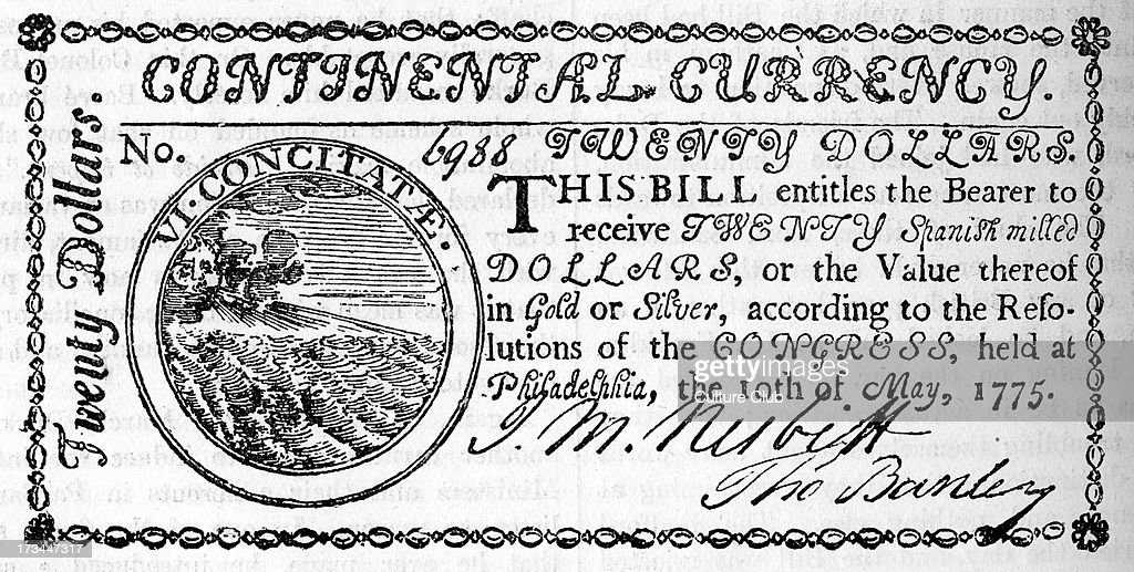 American twenty dollar bill, 1775 : News Photo