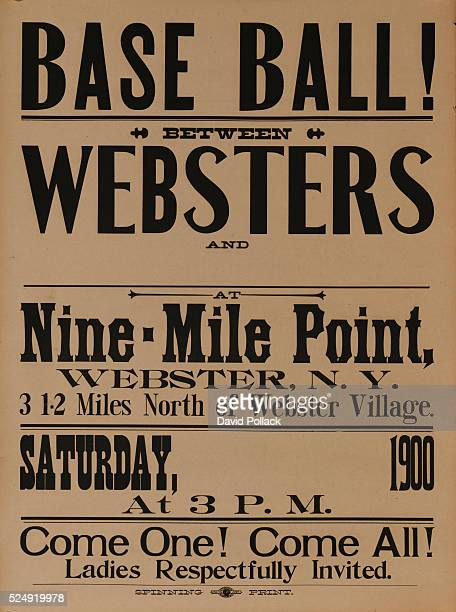 American typographic baseball poster Stock poster for Webster New York team vs unnamed opponent