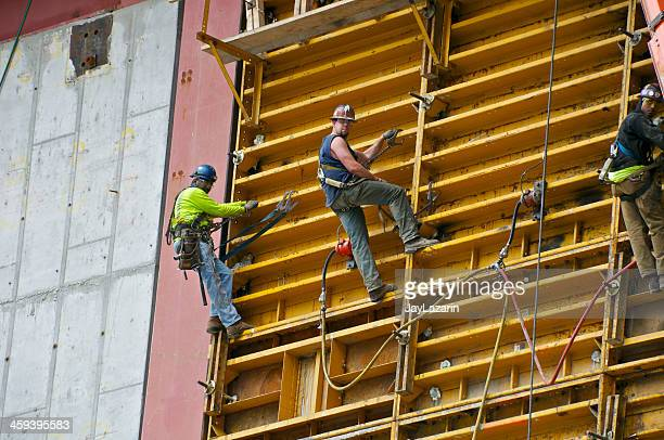 american union iron & steel workers, one world trade center - safety harness stock photos and pictures