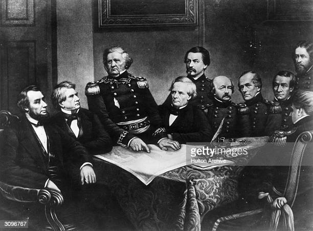 American Union politicians and soldiers taking part in a council of war Abraham Lincoln William Henry Seward Winfield Scott Simon Cameron George...
