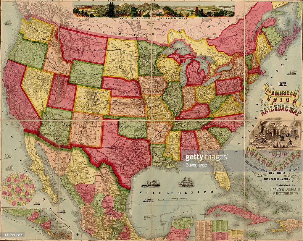 American Union railroad map of the United States, 1872 ...