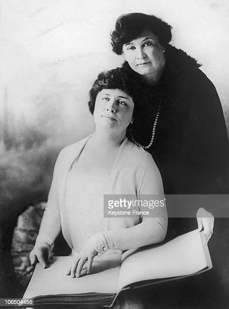 American University Student Helen Keller Blind Deaf And Dumb Posing With Her Professor Anne Sullivan Macy In San Francisco In The 1920'S