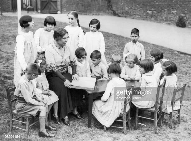 American University Student Helen Keller Blind Deaf And Dumb Reads A Book In Braille At The School For Blind In Switzerland On July 7Th 1932