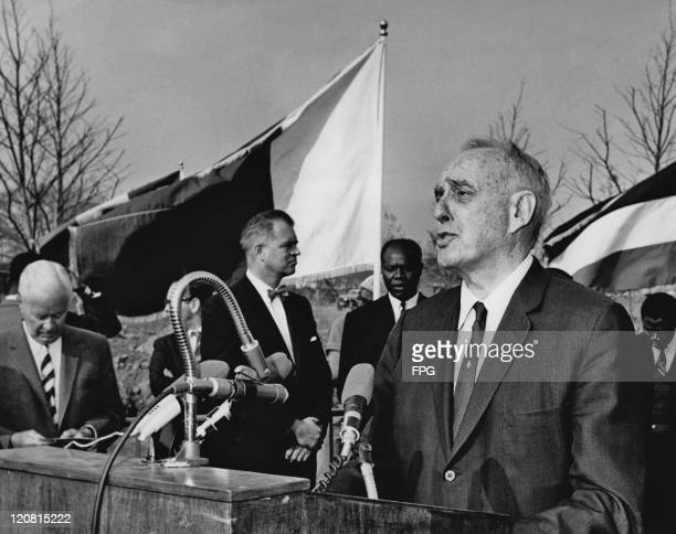 American urban planner Robert Moses speaks in his capacity as President of the 1964 World's Fair at a groundbreaking ceremony at the site of a new...