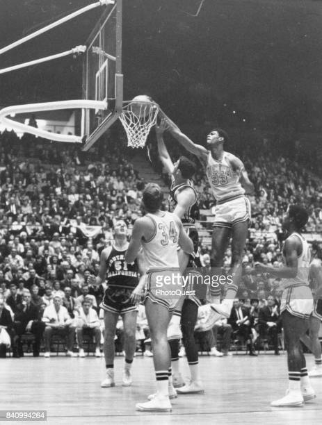 American varsity basketball player Lew Alcindor of UCLA during a game against University of Southern California Los Angeles California 1967