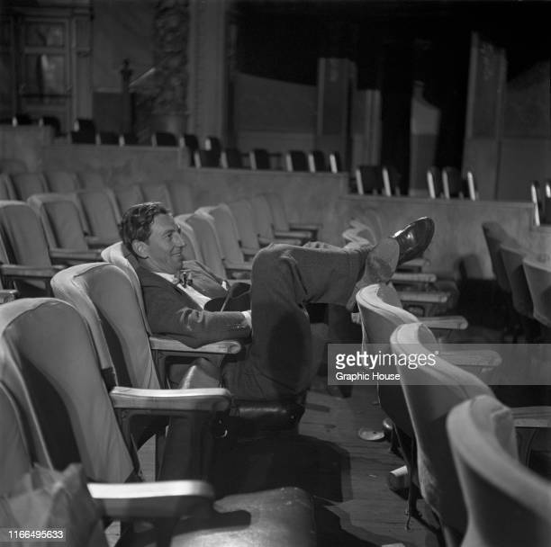 American vaudeville actor Ray Bolger prepares for the opening of WJZTV by the American Broadcasting Company at the Palace Theater in New York City...