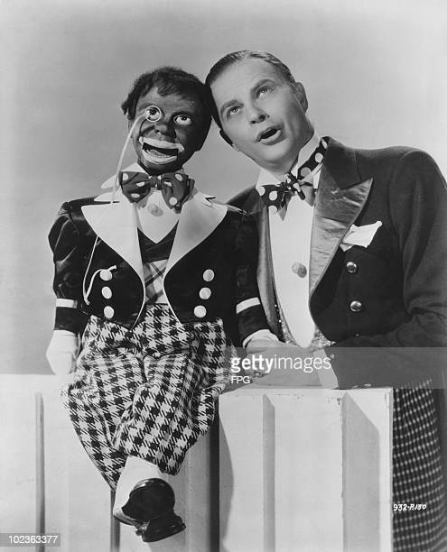 American ventriloquist Edgar Bergen with his dummy Charlie McCarthy here in blackface circa 1940