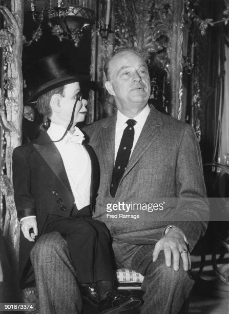 American ventriloquist Edgar Bergen with his dummy Charlie McCarthy at the Dorchester Hotel in London 14th September 1957