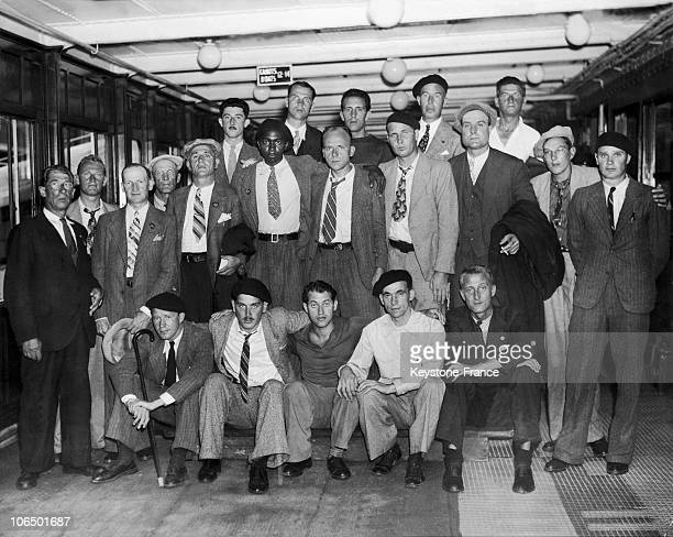 American Veterans Of The Lincoln Brigade On The Ship Champlain In New York In July 1938 Upon Returning From Spain Where They Were Voluntary...