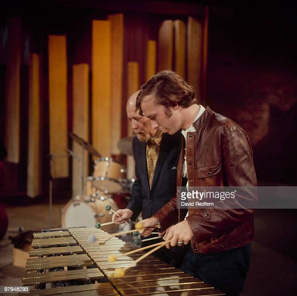 American vibraphonists Gary Burton and Red Norvo perform on the BBC television show 'Jazz at the Maltings' on March 13 1969