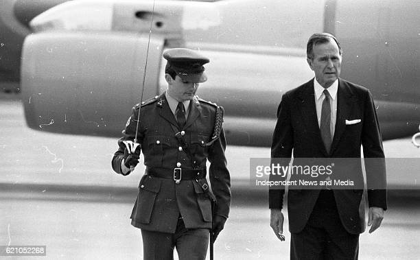 American Vice President George H W Bush at Dublin Airport inspecting the Guard of Honour