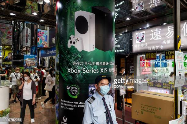 American video gaming system brand created and owned by Microsoft, Xbox S and Xbox X series, advertisement billboard seen in Hong Kong.