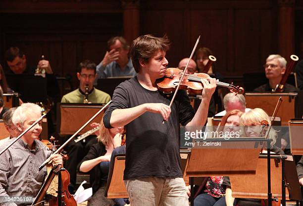 American violinist music director Joshua Bell performs Scottish Fantasy op46 by Bruch and Symphony No1 in C by Beethoven during rehearsal before a...