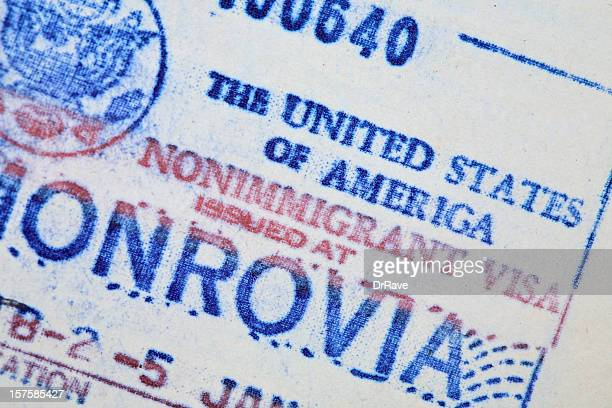 american visa 1991 - passport stamp stock photos and pictures