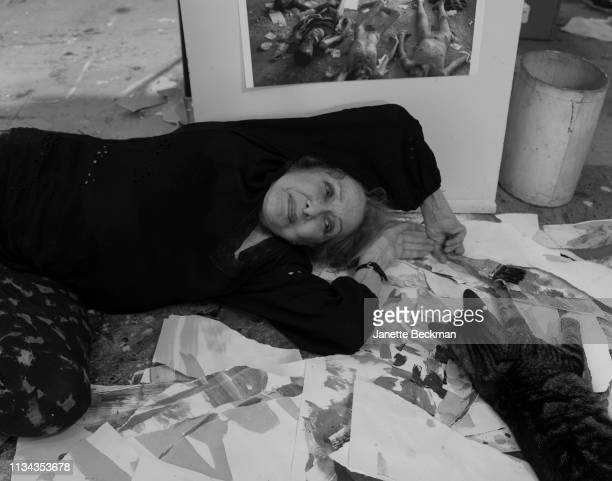 American visual experimental artist Carolee Schneemann [1] poses for a portrait at home on August 23 2017
