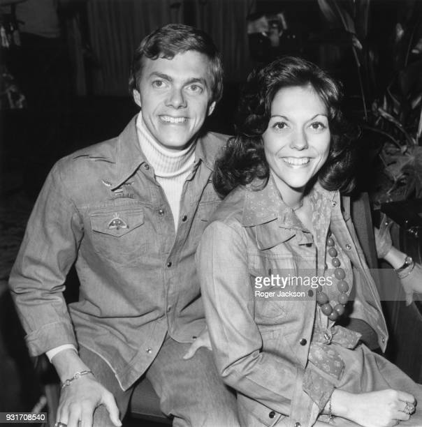American vocal duo The Carpenters brother and sister Richard and Karen Carpenter at their hotel in London before a live concert at the Royal Festival...