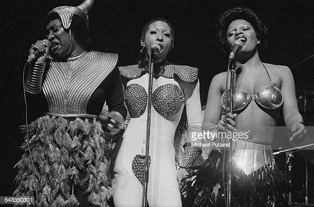 American vocal group Labelle performing on stage London 11th March 1975 Left to right Patti Labelle Nona Hendryx and Sarah Dash
