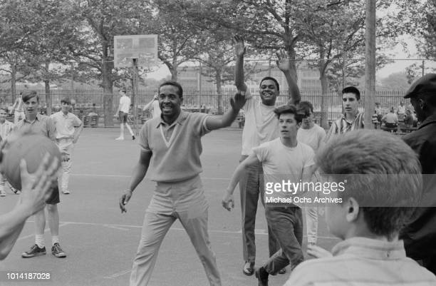American vocal group the Four Tops take part in a sports event in New York City 1965