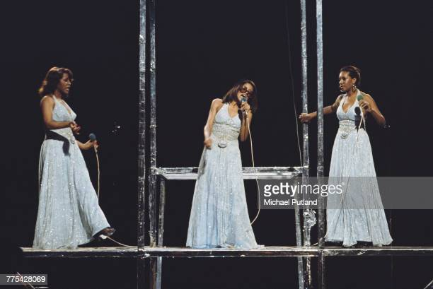 American vocal group The Supremes perform on a BBC Television show in London in September 1975 The group are from left Cindy Birdsong Scherrie Payne...