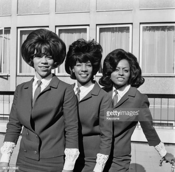 American vocal trio The Supremes in London for their first time on a promotional visit arranged by EMI 8th October 1964 From left to right Florence...