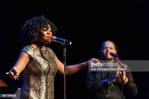 American vocalist Alicia Olatuja leads her band during a Carnegie Hall Weill Music Institute Neighborhood Concert at the Langston Hughes Auditorium...