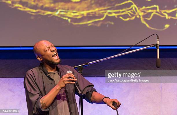 American vocalist Justin Hicks performs onstage with the Jazz trio 1032K at the David Rubenstein Atrium at Lincoln Center New York New York February...