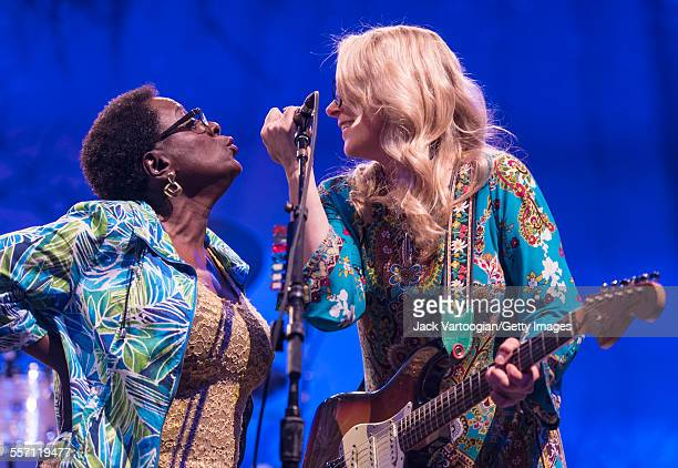 American vocalist Sharon Jones performs as a special guest with musician Susan Tedeschi, on guitar, and the Tedeschi Trucks Band on opening night of...