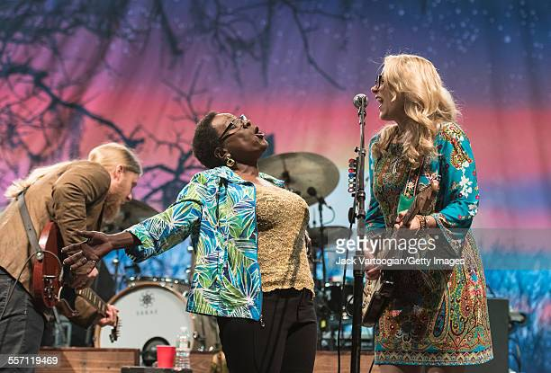 American vocalist Sharon Jones performs as a special guest with married musicians Derek Trucks and Susan Tedeschi both on guitar and the Tedeschi...