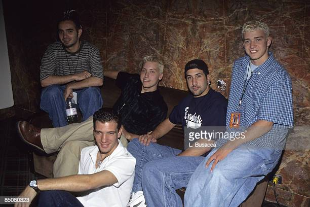 American vocalists Chris Kirkpatrick, Lance Bass, JC Chasez, Joey Fatone, and Justin Timberlake, of the group NSYNC, pose for a photoshoot, New York,...