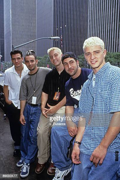 American vocalists JC Chasez Chris Kirkpatrick Lance Bass Joey Fatone and Justin Timberlake of the group NYSNC pose for a photoshoot New York New...