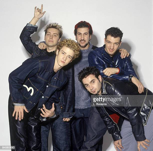 American vocalists Justin Timberlake Lance Bass Joey Fatone JC Chasez and Chris Kirkpatrick of the group NYSNC pose for a photoshoot New York New...
