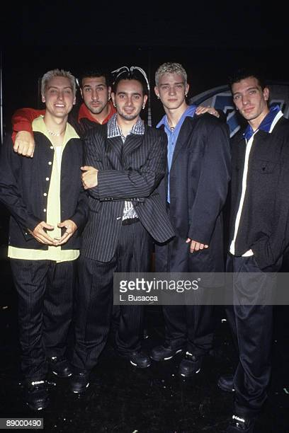 American vocalists Lance Bass, Joey Fatone, Chris Kirkpatrick, Justin Timberlake, and JC Chasez, of the group NYSNC, pose for a photograph, New York,...