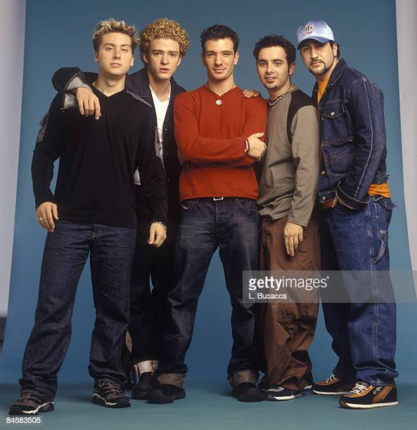 American vocalists Lance Bass Justin Timberlake JC Chasez Chris Kirkpatrick and Joey Fatone of the group NYSNC pose for a photoshoot New York New...
