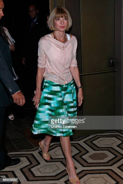 American Vogue editor Anna Wintour attends a screening of '500 Days of Summer' hosted by the Cinema Society with Brooks Brothers Cotton at the...
