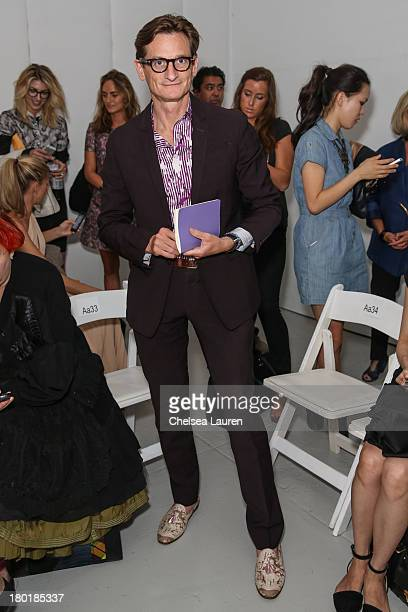 American Vogue editoratlarge Hamish Bowles attends the Thom Browne Women's fashion show during MercedesBenz Fashion Week Spring 2014 at Center 548 on...