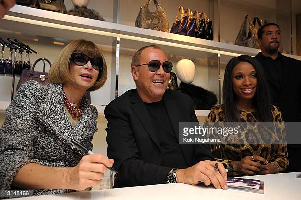 American Vogue Editorinchief Anna Wintour designer Michael Kors and Jennifer Hudson are seen during the Michael Kors Celebration of Fashions Night...