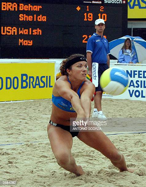 American volleyball player Kerri Walsh defends a ball, 12 October 2003, during the 2003 Women Beach Volleyball Championship final against Brazil, in...