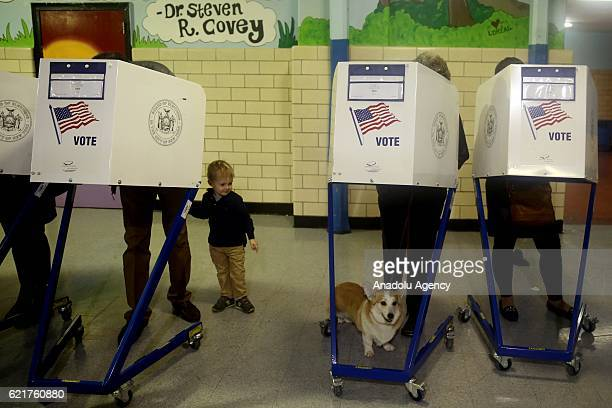 American voters cast their ballots at Robert Simon Middle school during the 2016 Presidential Elections in New York City United States on November 8...