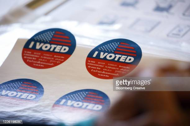 american voting sticker - democratic party usa stock pictures, royalty-free photos & images
