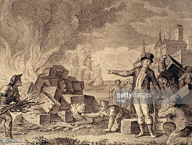 American War of Independence . Boston Tea Party. December 16, 1773. Revolution of the American colonists against taxes imposed by the British...