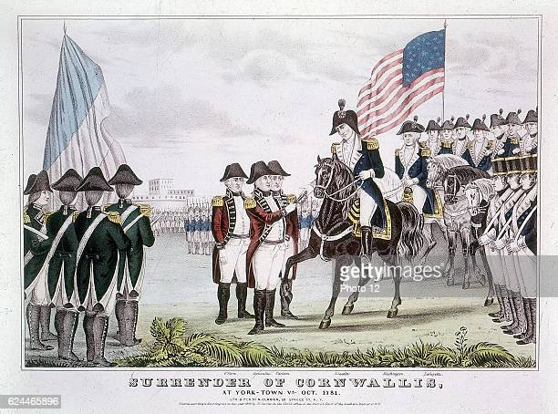 American War of Independence English commander Charles Cornwallis surrendering Yorktown to the colonists October 1781 Coloured engraving
