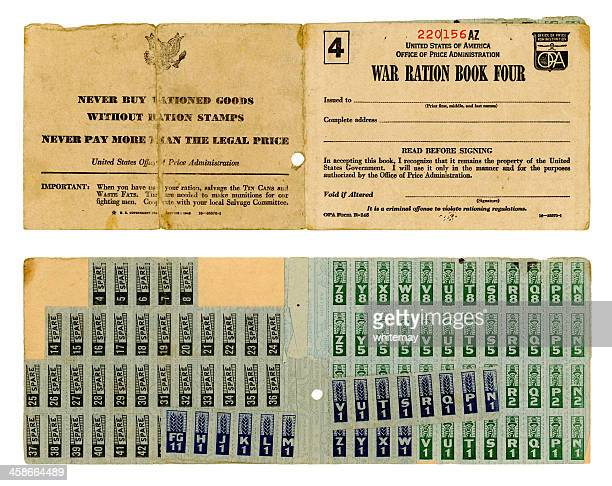 american war ration book four - rationing stock photos and pictures