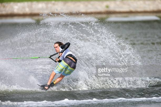 American water skier Adam Pickos takes the world championship mens tricks tittle at the 2017 IWWF World Open Championships on September 10 in...