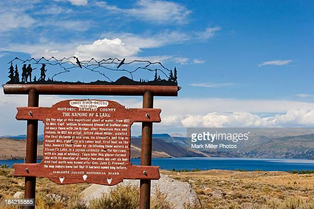 american west historic sign - the oregon trail stock photos and pictures