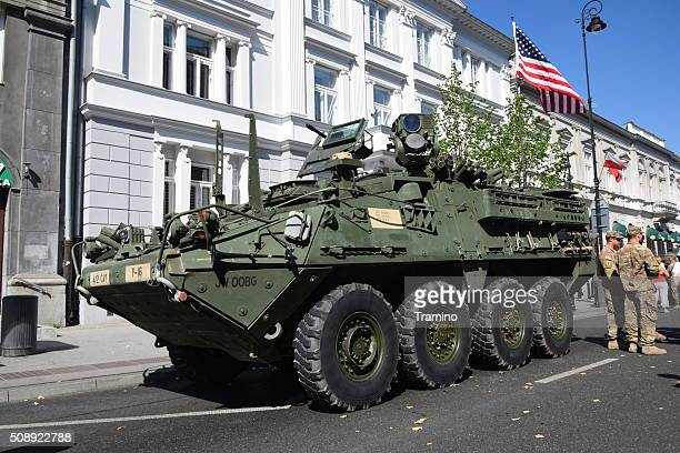American wheeled armored vehicle on the street
